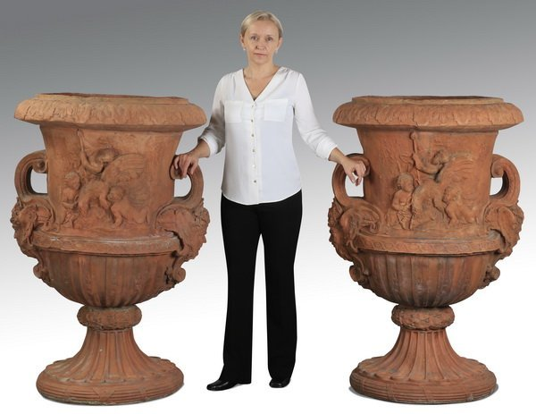 """(2) Neoclassical style cast stone urns, 53""""h"""
