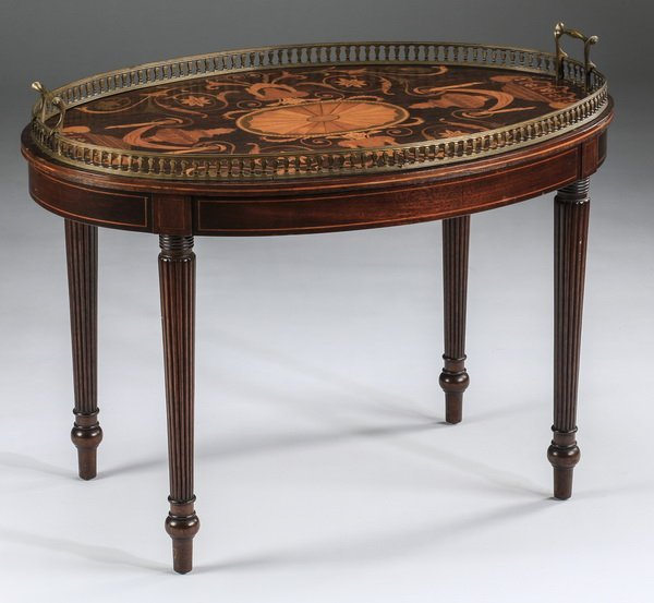 Two-handled marquetry butler's low table