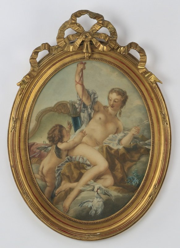 "After Boucher, 'Venus Disarming Cupid' 24""h"