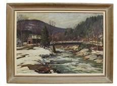 Aldro Hibbard signed O/c winter landscape