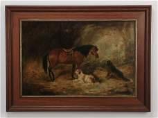 Edward G. Armfield, O/c horse w/ dogs, 19th c