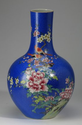 Large Chinese Porcelain Bottle Neck Vase, 13""