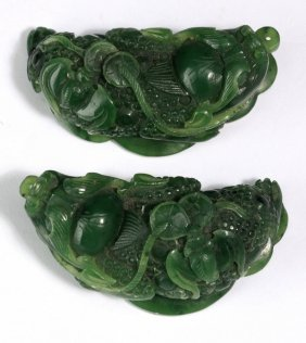 "(2) Chinese Jade Money Toad Pendants, 2""l"