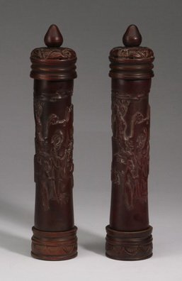"""Chinese Carved Wood Incense Tubes, 12""""h"""
