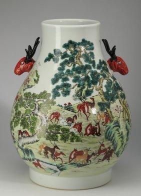 """Large Chinese Hu Vase, One Hundred Deer, 17""""h"""