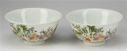 2 Chinese One Hundred Boy motif bowls