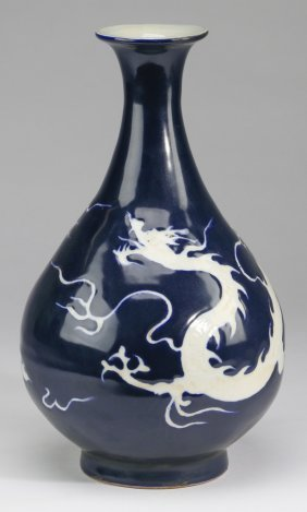 "Chinese Pear-form Dragon Vase, 13""h"