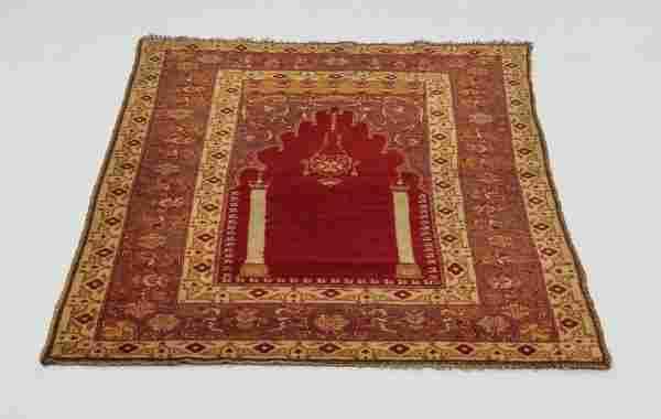 Hand knotted Turkish wool prayer rug, 6' x 4'