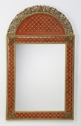 """Marquetry Inlaid Wall Mirror, 53""""h"""