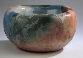"Contemporary Ceramic Bowl W/ Raku Glaze, 17""w"