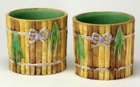 (2) 19th C. Faux Bamboo Majolica Jardinieres