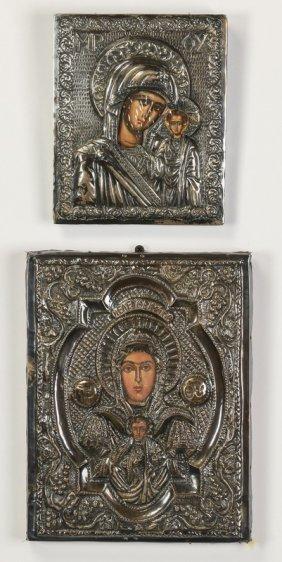 (2) Greek Orthodox Icons W/ Silvered Rizas