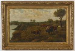19th c. oil on canvas farm scene, unsigned