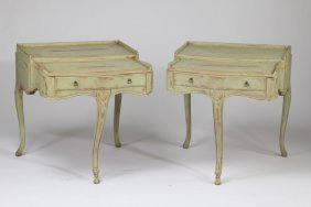 (2) French Provincial Style 3-legged Tables