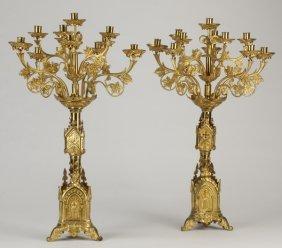 (2) French Gothic Revival Brass Candelabra