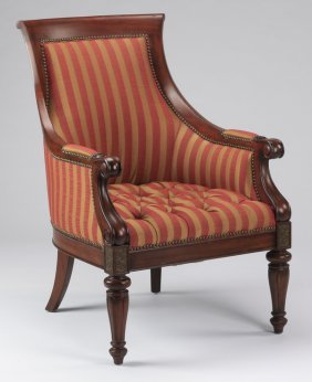 Empire Style Armchair In Striped Fabric