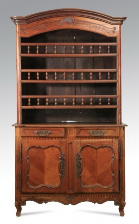 "18th C. French Carved Walnut Vaisselier, 94""h"