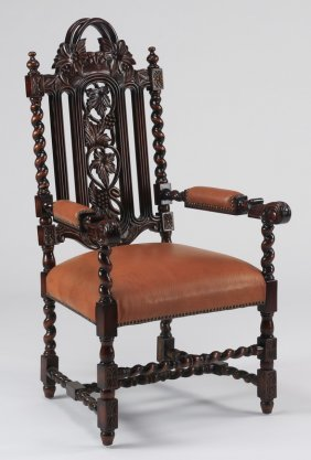 Carved Italian Style Chair, In Leather