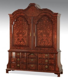 "Dutch Marquetry Inlaid Cabinet, 89""h"