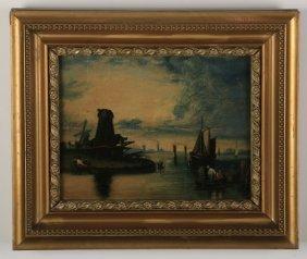 19th C. Dutch O/b Coastal Scene