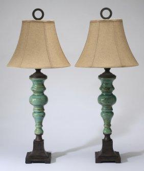 (2) Contemporary Ceramic Table Lamps
