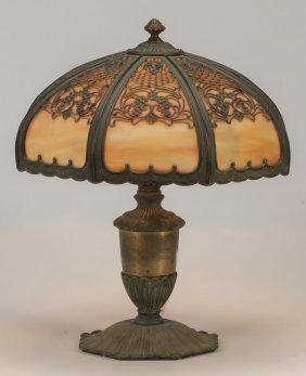 """Slag Glass Table Lamp W/ Metal Overlay, 13""""h"""