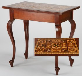 """19th C. English Marquetry Inlaid Table, 31""""w"""