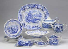 12-pieces 19th C. Blue And White Transferware