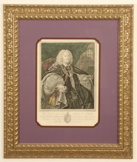 18th C. Framed Engraving 'lord Of Winchester'