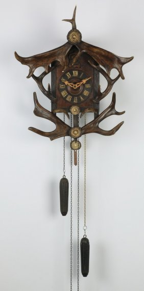 Carved Black Forest Cuckoo Clock With Antlers