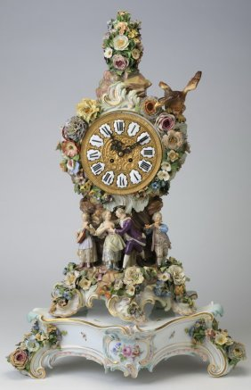 """Early 20th C. Meissen Clock, 25""""h, Marked"""