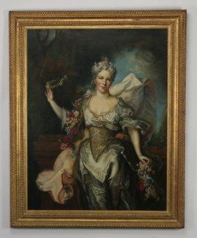 """19th C. O/c Portrait, After Bouguereau, 63""""h"""