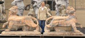 """(2) Carved Marble Tiger Sculptures, 74""""l"""