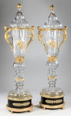 """(2) Imperial Russian Style Crystal Urns, 68""""h"""