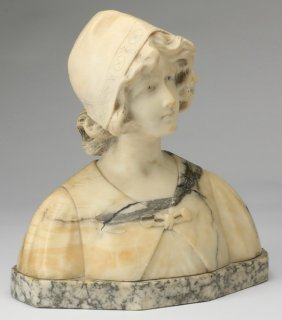 """19th C. French Marble And Alabaster Bust, 14"""""""
