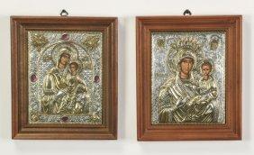 (2) Greek Orthodox Icons, Theotokas, Framed