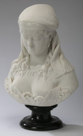 19th C. Italian Marble Bust, Signed, 23""