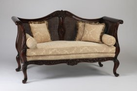 Carved Sofa With Woven Cane Back & Sides