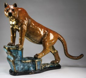 Signed & Numbered Bronze Cougar Sculpture