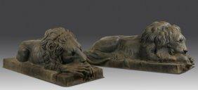 """(2) Lifesize Bronze Lion Sculptures, 67""""l"""