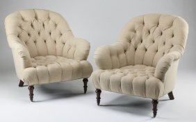 (2) English-style Button Tufted Armchairs