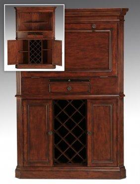 "Carved Corner Cabinet With Wine Storage, 66""h"