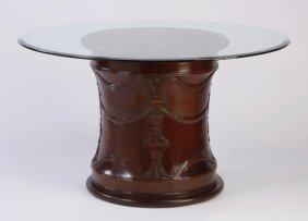 Glass Top Table With Carved Mahogany Base