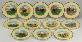 (12) Minton Hand Painted Plates, Marked