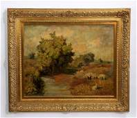 Hugo Konig signed O/c landscape w/ sheep