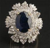 Gold sapphire and diamond ring size 7 34