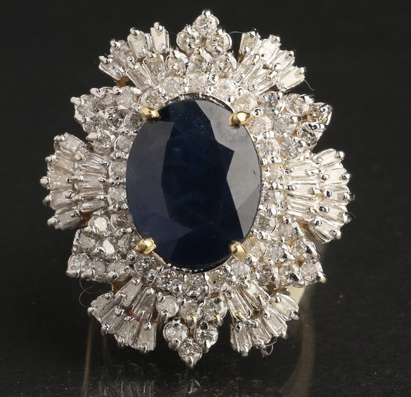 Gold, sapphire and diamond ring, size 7 3/4