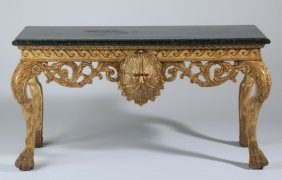 Early 20th C. Gilt Wood Marble Top Console