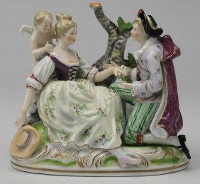 "19th C. Volkstedt Figurine, Marked, 7""h"