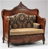 "19th c. French carved walnut hall bench, 57""w"